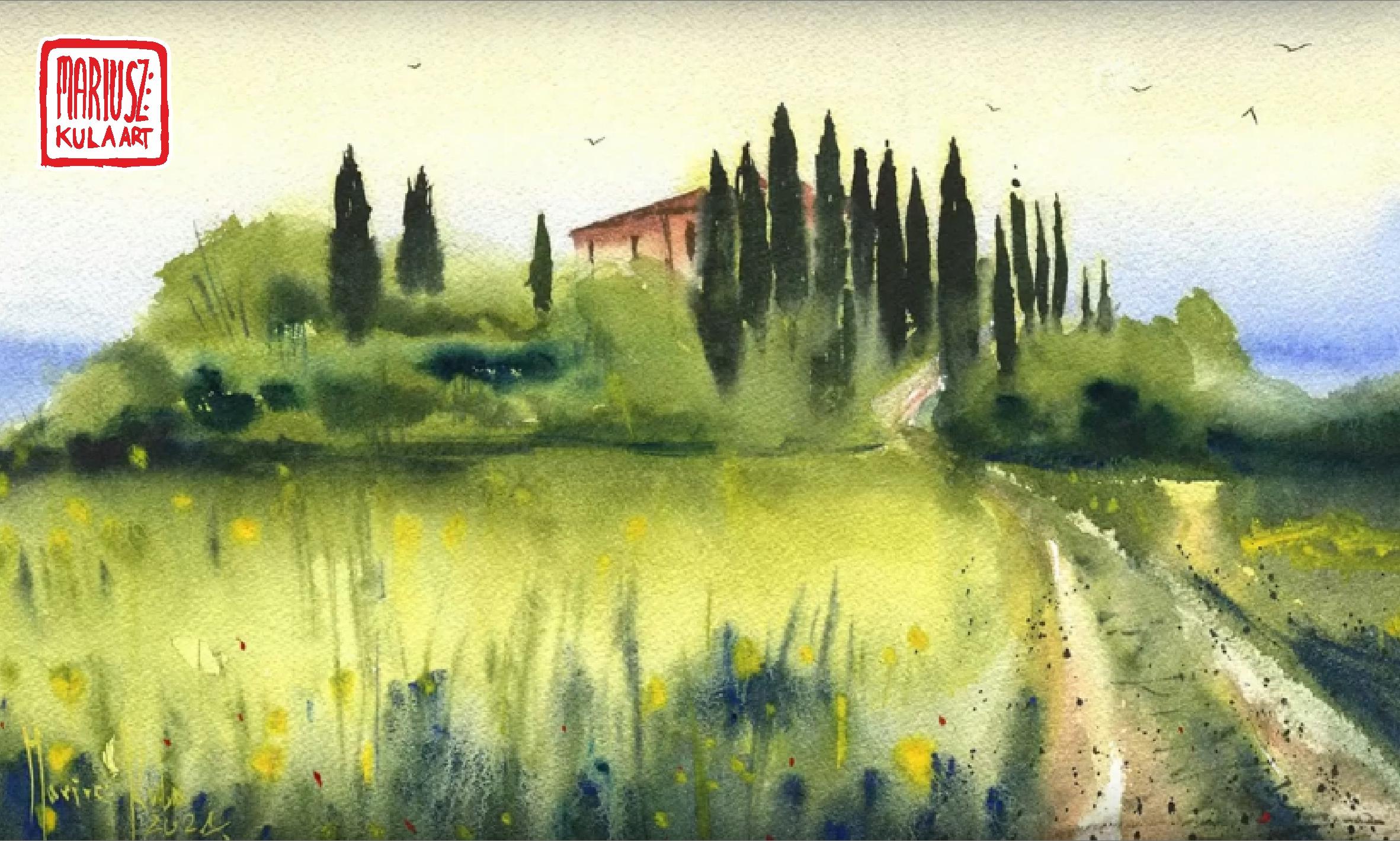 Toskania – proces powstawania akwarel